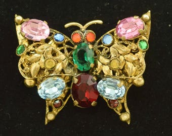 Vintage Rhinestone Butterfly Brooch Pin ~ Lot 2072