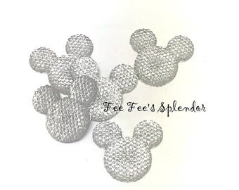 Set of 5 - Mickey Minnie Mouse Rhinestone flatback  * Diamond Clear * Mouse head flat back resin - Hair bow Center