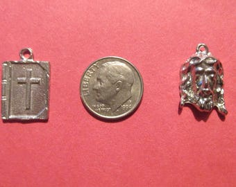 Dozen Pewter Bible And Jesus Charms Six Of Each