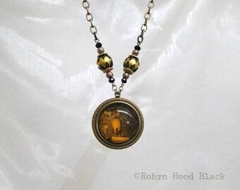 Haunted Owl Glass Cab Necklace Antique Magazine Illustration Victorian Gothic  Necklace