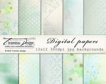ON SALE Digital Scrapbooking Vintage Papers Pack 12