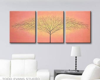 "Orange Painting Canvas Art Tree of Life Wall Decor Original Paintings Dark Orange Wall Art and Yellow 48""x20"" ToddEvansArt"
