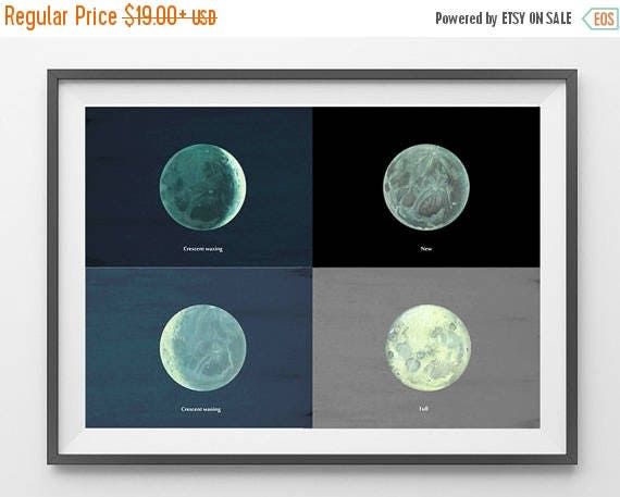 SALE Moon Phases Astronomy Print Poster to Frame Planet  Earth Illustration Upcycled