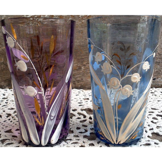 Handpainted Small Collectible Art Glasses, Cordial/Juice Glasses, Purple Glass, Blue Glass, Lily of the Valley, Cocktail Glasses