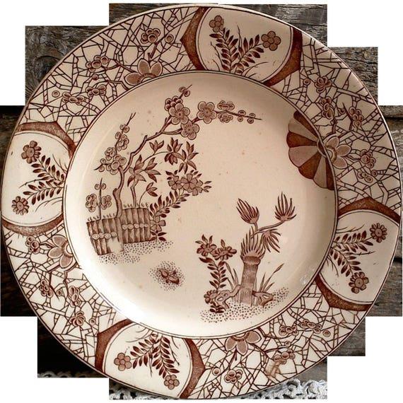 "Antique Aesthetic Movement, 1800s, Kioto, 9 3/8"" Dinner Plate, Brown Transferware, Ironstone, Serving, Wall Decor, Kioto Pattern"