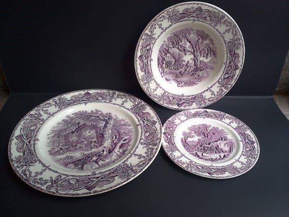 Purple set of 3 Dishes ~ A.J. Wilkinson Pastoral Davenport ~ England Purple Transferware
