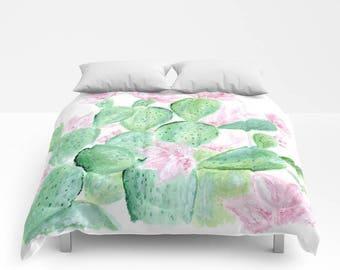 Cactus Floral Comforter, cactus bedding, cactus bed cover, cactus duvet, floral comforter, cactus floral duvet, cactus floral bedding