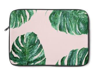 Pink Palm Leaf Laptop Sleeve, palm leaf sleeve, palm leaf case, pink palm leaf, pink leaf sleeve, pink laptop sleeve, leaf laptop sleeve