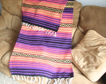 Hot Rod Throw #D - Made from Mexican Blanket Fabric - Long, rugged - Hot rods, parties, beach, wall hanging - Vibrant Coral Purple