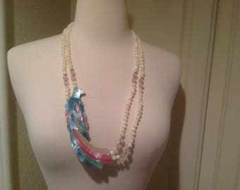 Parrot necklace, abalone, Moonstone, Rose Quartz double strand necklace / Large Parrot pendant / womens summer accessories
