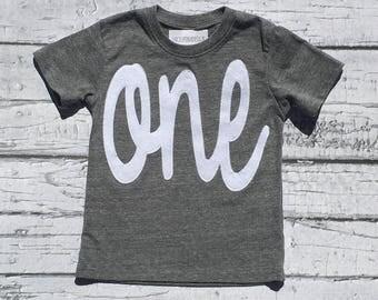 One. First Birthday. Shirt. Baby Boy.