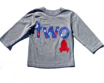 2nd Birthday, Shirt, Long Sleeves ,Rocket, Space Theme Birthday, READY TO SHIP