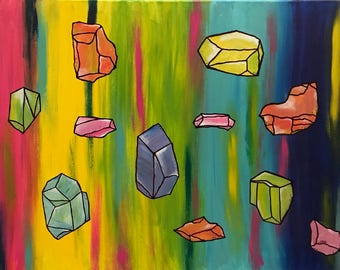 Rocks, Gems & Crystals 18x 24 Original Painting