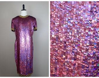 NAEEM KHAN Holographic Sequin Dress // Dark Pink Iridescent Mermaid Hologram Sequined Dress