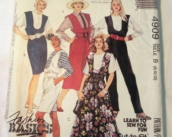 "SALE 1990s Jumpsuit, Romper Jumper Dress sewing pattern McCalls 4909 Size 8 10 12 Bust 31.5 32.5 34"" UNCUT FF"