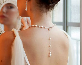 Bridal Jewelry Set Pearl Backdrop Necklace, Back necklace, Bridal Jewellery Swarovski pearl Necklace and Earrings, Bridal Jewelry Set,