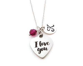 I Love You Charm - Initial Necklace - Personalized Necklace - Sterling Silver Jewelry - Gift for Her