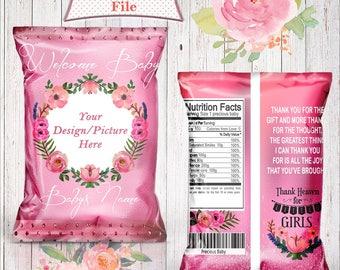 Baby Shower Treat Bags-Favor Bags-Custom Chip Bags-Baby Shower-Digital File-Printable