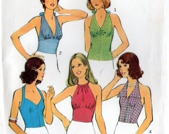 Style 4174 Misses' Retro 1970s Set of Halter Tops Sewing Pattern
