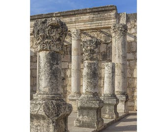 Israel Photography, Synagogue at Capernaum, Jewish Synagogue, Capernaum Ruins, Ancient Ruins, Israel Art, Fine Art Photography,