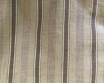 Tan and Brown Stripe Cotton-Wool Fabric from France