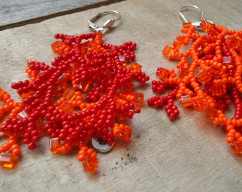Orange and red ' coral' earrings