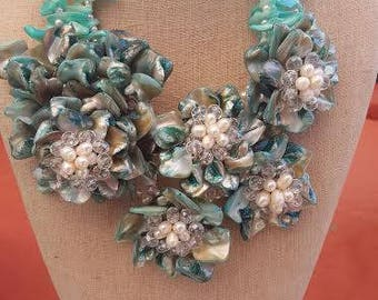 Statement Necklace - Light Blue Tone Shell Flowers and Fresh Water Pearls