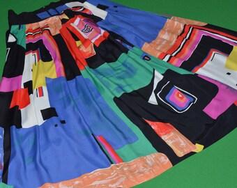 Vintage Maxi Skirt Bright multicolor Canadian Designer SIMON CHANG 1980-90s