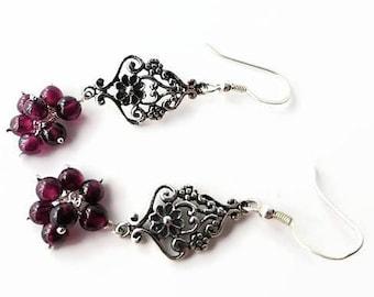 Garnet drop earrings, ladies earrings, January birthstone earrings, unique earrings, chandelier earrings, red earrings UK, hanging earrings