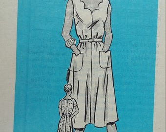 UNCUT and FF Pattern Pieces Vintage Mail Order 4884 Sewing Pattern Size 12-1/2 Dress