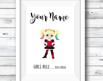 Personalised superhero print, and superhero ABC, girls room, gift for girls, custom bundle, fan art, custom print, girls artwork, custom