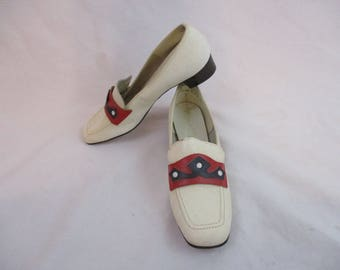 Vintage 60s Red White and Blue Leather Loafers Shoes Sz 7.5  Deadstock