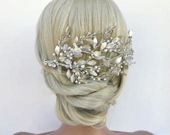 Crystal and Pearl Bridal Headpiece Hairvine, Ivory & Champagne Pearl Wedding Hairpiece, Crystal Hair Comb, Bridal Hairvine