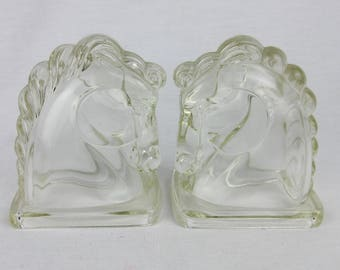 Vintage Mid Century - 1940s Horse Head, Bookend Pair, L E Smith, Federal Glass / Gift for Horse Lover / Western Decor / Equestrian Theme