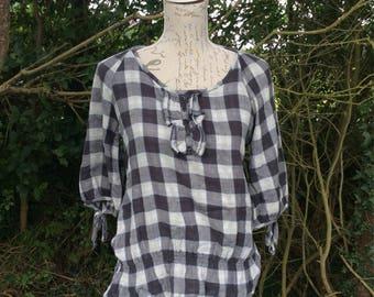 Trendy check print  frill detail shirt / blouse