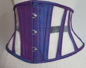 UNDERBUST CORSET WASPIE purple silk and mesh steelboned corset belt made to order Busk front closing and laced back.