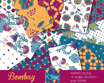 """Bombay"" matching digital paper sheets for scrapbooking"