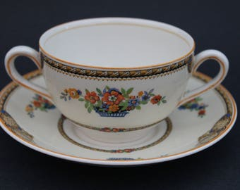 MYOTT Staffordshire Bouillon Cup and Saucer.