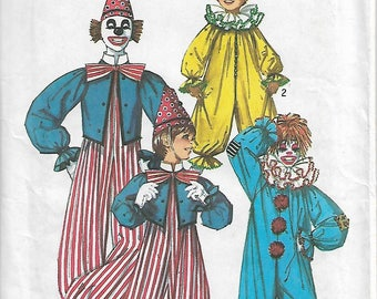 Vintage 1970's Simplicity 7162 Size 10-12 Chest/Breast 28 1/2 - 30 Boys & Girls Clown Costume Sewing Pattern 1975 Uncut