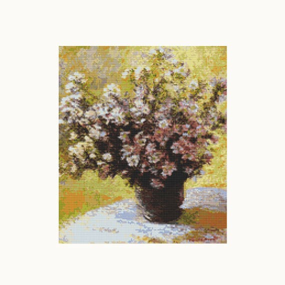 Cross Stitch Kit Bouquet Of Mallows Claude Monet Embroidery