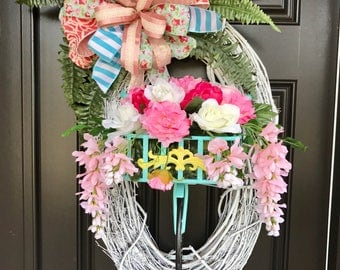 Spring Summer Oval Bicycle Wreath - Ready to Ship