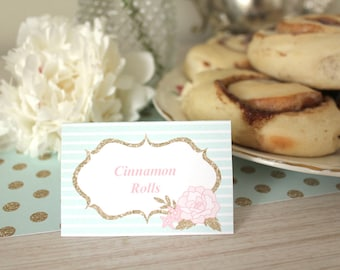 Food Tent Labels for a Tea Party, Baby Shower, Bridal Shower, Birthday or Ladies Tea - Floral Mint, Pink, Gold - Editable PDF - Shabby Chic