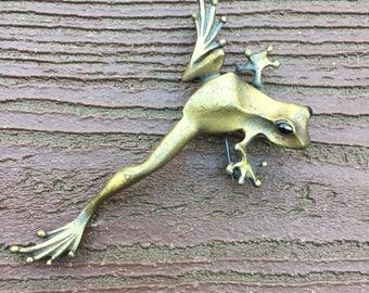 Vintage Signed JJ Jonette Jewelry Pin Brooch Frog