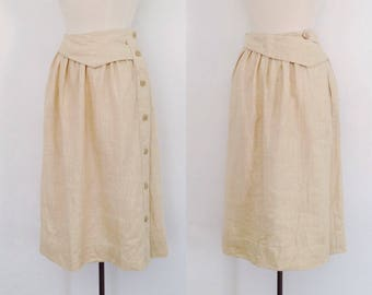 vintage linen skirt midi skirt / full skirt linen / 80s avant garde clothing