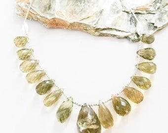 SALE Faceted Quartz Briolettes and Silver Necklace
