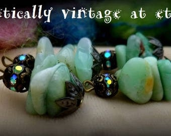 Beaded, Charms, Chrysoprase Beads, Handmade, Natural, Shabby Chic, Embellishments, Vintage Inspired, Earrings