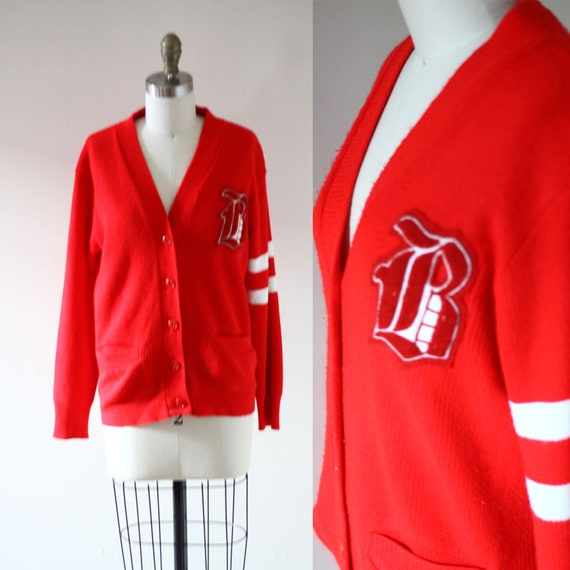 1970s Letterman cardigan // vintage red sweater //vintage sweater cardigan