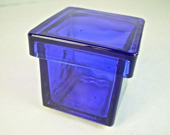 """COBALT BLUE GLASS Jar Container with Lid, Square, Apothecary, 2.25"""""""