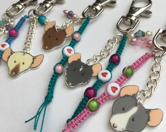 Fancy Rat Key Chain or Bag Charm, Pet Rat Gift Accessory, Fun Gift for Rat Owners.