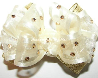 Glitzy Gold Hair Bow, Ivory Gold Baby Clip, Ivory Gold Organza Lame Ribbon Bow, Infant Ivory Gold Clip, Flower Girl Small Ivory Gold Hairbow